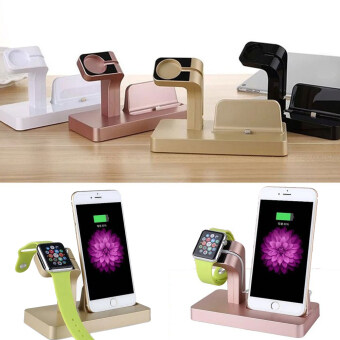 Moonar Fashion Dual Functions Docking Charger Station Stand CradleHolder for iPhone iWatch Apple Watch (Black) - 4
