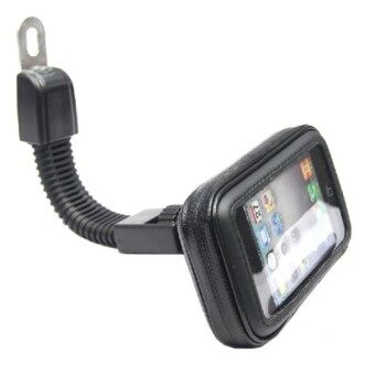 Motorcycle Phone Holder Rearview Mirror Mount Mobile Phone HolderWaterproof Case Bag for Universal Phones (Size L)