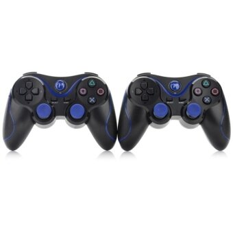 Harga MouseKing Dual-Shock Bluetooth V4.0 Controllers for PS3 + More-Black + Blue (2 PCS)