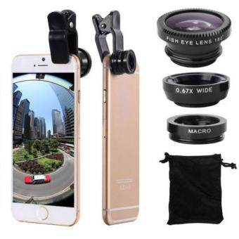 Harga New 3 In 1 Fish Eye + Wide Angle + Macro Camera Clip-on Lens Black