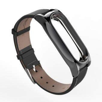 New Version Original Mijobs Leather Strap For Xiaomi Mi Band 2Metal Leather Screwless Wristbands Replace Bracelet For MiBand 2 -Black