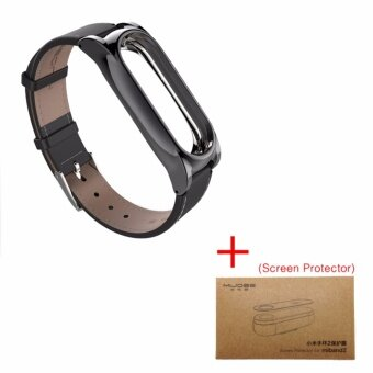 Newest Version Plus Original Mijobs Leather Strap For Xiaomi MiBand 2 Metal Leather Screwless Wristbands Replace Bracelet ForMiBand 2 - Black with Film