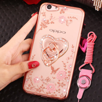 Oppoa57 phone shell silicone A39 protective sleeve ring buckle A57Mtransparent soft lanyard anti-fall female models diamond tide - 2