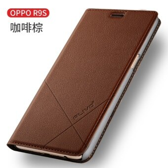 Oppor9s phone shell r9splus protective sleeve R9S flip-style leather men female models plus anti-drop resistance shell hard