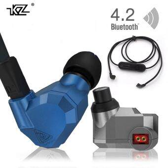 Harga Orginal KZ ZS5 2DD+2BA Bluetooth Wireless Earphones HIFI Monitor DJHybrid Detach MMCX Earphones Noise Canceling Headset-Blue+Buletooth Line