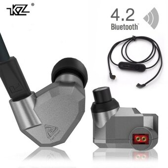 Harga Orginal KZ ZS5 2DD+2BA Bluetooth Wireless Earphones HIFI Monitor DJHybrid Detach MMCX Earphones Noise Canceling Headset-Grey+BuletoothLine