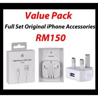 Harga Original iPhone Lightning Cable (1 Meter) + Original Apple EarPodswith 3.5 mm Headphone Plug + Original Adapter