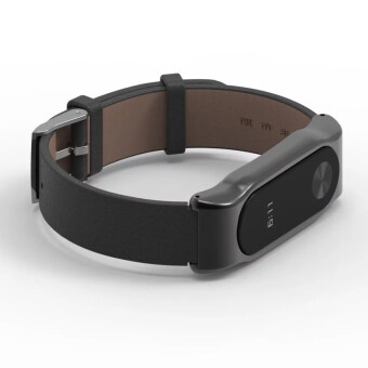 Original Mijobs Strap For Xiaomi Mi Band 2 Metal Leather BeltBracelet For MiBand 2 Wristbands Replace Accessories For Mi Band 2- Black