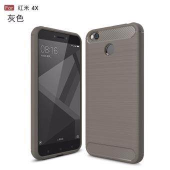 Phone Cases For Xiaomi Redmi 4X Case Cover Back For Xiaomi Redmi 4XCase Silicone Carbon Fiber Brushed TPU Mobile Phone Cases (Grey)