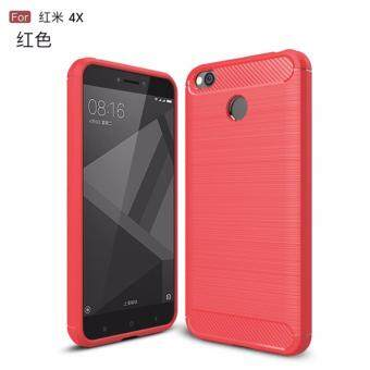 Phone Cases For Xiaomi Redmi 4X Case Cover Back For Xiaomi Redmi 4XCase Silicone Carbon Fiber Brushed TPU Mobile Phone Cases (Red)