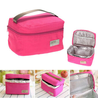 Harga Portable Insulated Thermal Cooler Bento Lunch Box Tote Picnic(RoseRed)