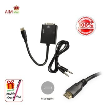 Harga Portable Mini HDMI to VGA Video and 3.5mm Audio Converter Adapter Cable