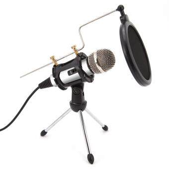 Harga Professional Condenser Microphone, Plug &Play Home Studio forIphone Android Recording,Podcasting,Online Chatting Such asFacebook,MSN,Skype,Desktop MIC Stand dual-layer acoustic filter