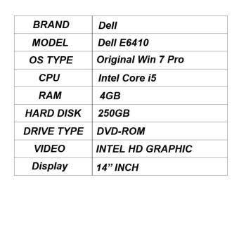 REFURBISHED DELL LATITUDE E6410, INTEL CORE i5  WIN 7 PRO  4 GB RAM  250 GB HDD  WITH DVD- ROM  INTEL HD GRAPHICS   14 INCH Malaysia