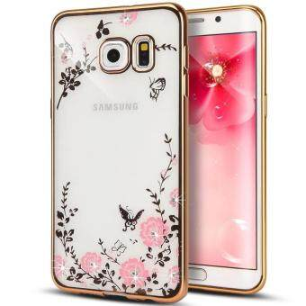 Harga Samsung Galaxy C9 Pro Case, Gogerstar [Secret Garden] ButterflyFloral Flower Shiny Diamonds Plating Bumper Soft TPU Case forSamsung Galaxy C9 Pro