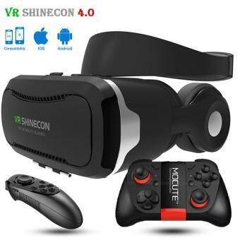 "Shinecon VR 4.0 Virtual Reality 3D Glasses Headset VR BOX+Headphone/Mic for 4.7-6.0\"" Mobile Smartphone +2 pcs gamepad"