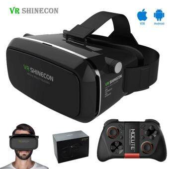 Harga Shinecon VR Virtual Reality 3D Headset Glasses Google Cardboard 3DVR Box Glasses For 4.7-6 inch Smart phone+ Gamepad