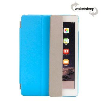 Smart Luxury PU Leather Ultra Slim Smart Magnetic Wake/Sleep Flip Pad Cover + Translucent Protect Case for Apple iPad Air 2 iPad 6 SM0056 (Blue)