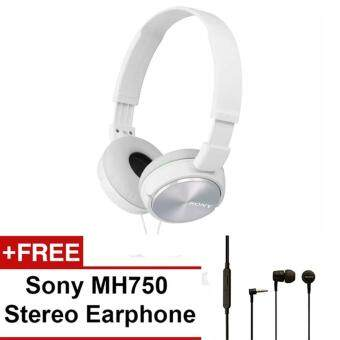Harga Sony MDR-ZX310BC(CN) Sound Monitor On-Ear Headphone (White) + SonyMH750 Earphone (Black)