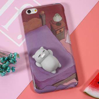 Squishy 3D Pinch Squish Silicone Cat Lying in Bed Squishy TPU Casefor iPhone 6s 6