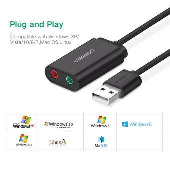 UGREEN USB Audio Adapter External Stereo Sound Card With 3.5mm Headphone And Microphone Jack For Windows, Mac, Linux, PC, Laptops, Desktops, PS4 (Black) Malaysia