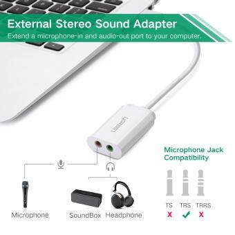 UGREEN USB Audio Adapter External Stereo Sound Card With 3.5mm Headphone And Microphone Jack For Windows, Mac, Linux, PC, Laptops, Desktops, PS4 (White) Malaysia