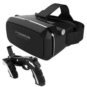 VR Box 3D Headset Virtual Reality Glasses with Bluetooth Game Gun