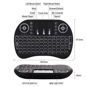 Womdee Triumphant Rii I8 Mini 2.4Ghz Wireless Touchpad Keyboard With Mouse For Pc, Pad, Xbox 360, Ps3, Google Android Tv Box, Htpc, Iptv (Black) Malaysia