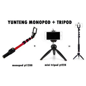 Harga Yunteng YT1288(Color Monopod) + YT228(Tripod) Complete Set - FastDelivery (Ready Stock!!!)