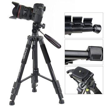 Detail Gambar ZOMEI Q111 55-Inch Professional Aluminium Camera Tripod CamcorderStand with PanHead Plate for DSLR Canon Nikon Sony DV Video (Black) Terbaru