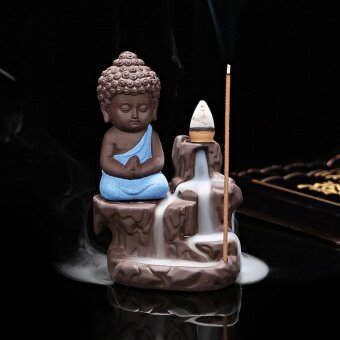 Harga 1 Calm Ceramic Incense Burners Aromatherapy Creative Little MonkCenser Backflow Stick Incense Burner Buddha Crafts Home Decor T0