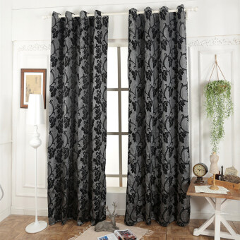 Harga 1 pcs 100x270 blinds window treatments semi-blackout 3D curtain forliving room modern fabrics ready made curtain black