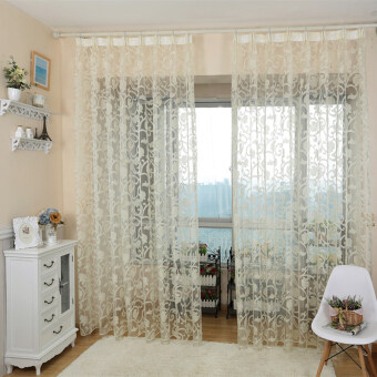 Harga 1 pcs European style jacquard design sheer panel tulle curtain forliving room and balcony cream