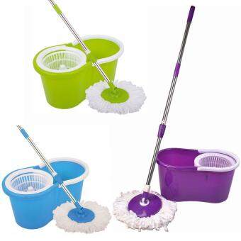 Harga 1 Set 360? Rotating Spin Magic Mop Spinning Mop Easy Floor MopBucket Floor Bucket Mops Household Cleaning Home Decor(Purple)