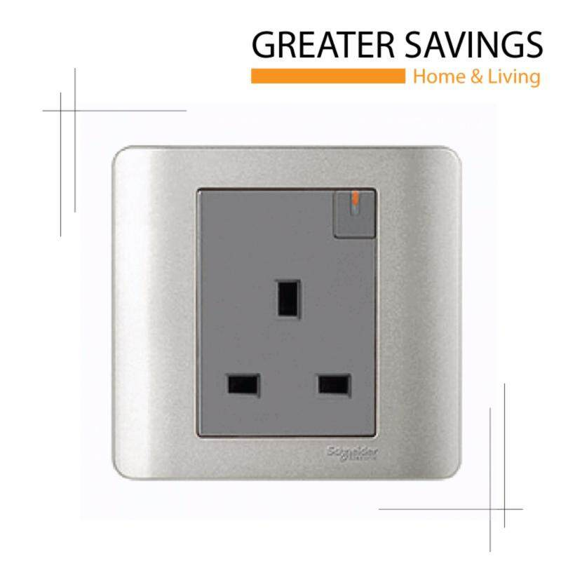 Buy 1 x Schneider Zencelo 13A 1 Gang Switched Socket with Ondicator SILVER Malaysia