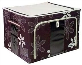 100L Large Oxford Cloth Dual Opening Foldable Spring Blossom Storage Box(Dark Brown)