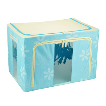 100L Large Oxford Cloth Dual Opening Foldable Spring Blossom Storage Box(Light blue)