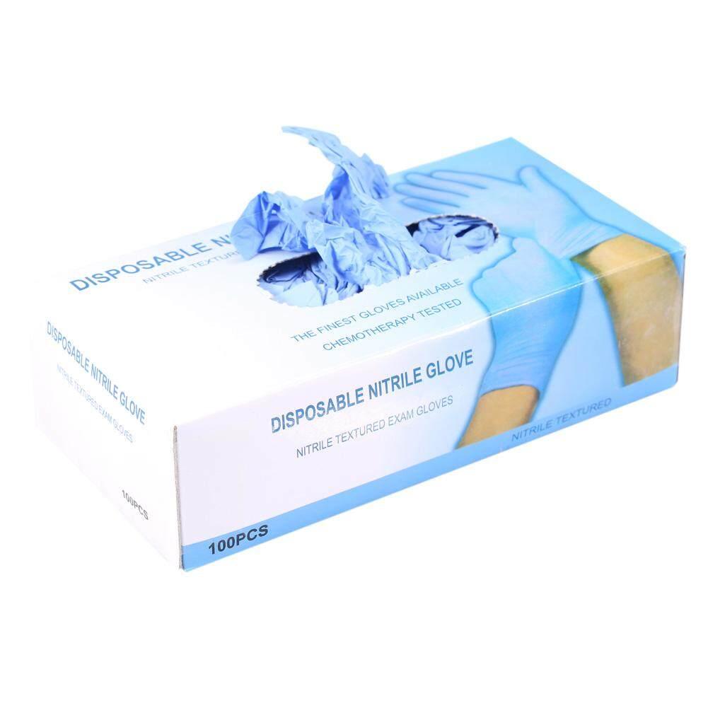 100pcs Box Nitrile Disposable Powder Latex Textured Gloves Sarung Tangan Examination Non Buy Blue M Malaysia