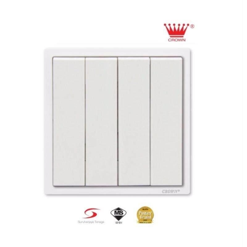 10pcs - Crown CM Series 4 Gang 1 Way Flush Switch (White) CM5041