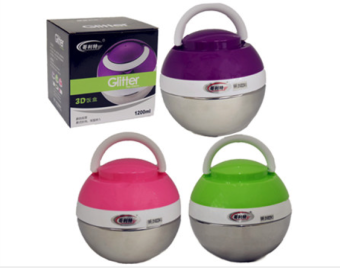 1200ml Modern Designed Stainless Steel 3D Lunch Box Fashion Ball Shape Food Container Thermos Bento (Purple/Green/Pink)