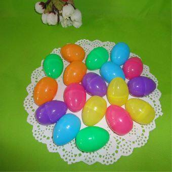 Harga 12pcs Mixed Color 40x60mm Easter Egg Decoration Home Kids DIY CraftToys Gifts Empty Chocolate Box Plastic easter eggs Party
