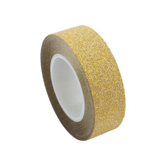 Harga 1.5cmx10M Glitter Washi Sticky Paper Masking Label DIY Craft DecorAdhesive Tape(Gold)