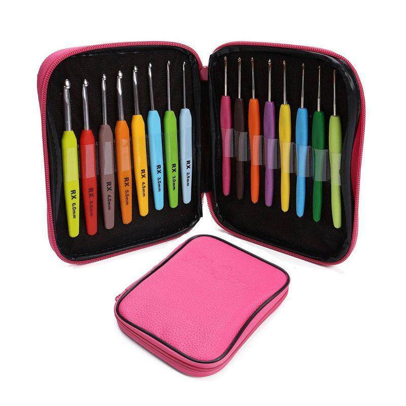 Buy 16pcs Multi Colour Crochet Hook Yarn Alu Knitting Needles Set Kit Tool with Case Malaysia