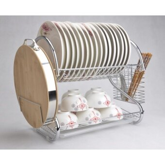 2-Layer S Shape Stainless Steel Dish Rack with Chopping Board Holder Two Tier Kitchen Storage Drying