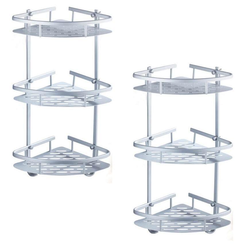 Buy 2 pcs 3 Tier Corner Shampoo Rack Space Aluminium Bathroom ...