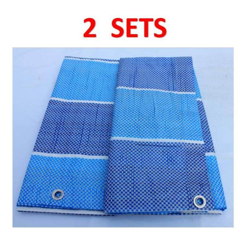 2 Sets Canvas (Korea) 7  x 10  Ready Made PE Tarpaulin Sheet (Blue White) Outdoor Construction Renovation Floor Cover Canopy Tent Side Wall Shield Waterproof UV Protection Camping Hiking Beach with Built-in Ropes & Grommets Eyelets Kanvas Bi