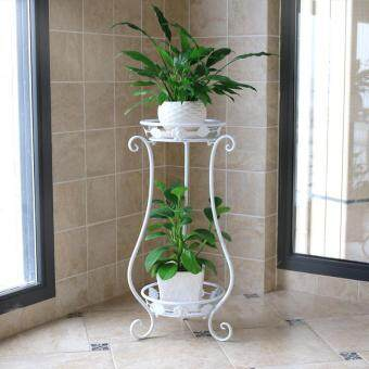 Harga 2-Tier Metal Balcony Fower Pots Shelf Garden Flower Stands HolderPlant Flower Pergolas Metal Iron Flower Shelf (black+white)