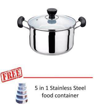 20cm Multipurpose Stainless Stain Food Cooking Steam Pot + 5 In1-Stainless Steel Food Container