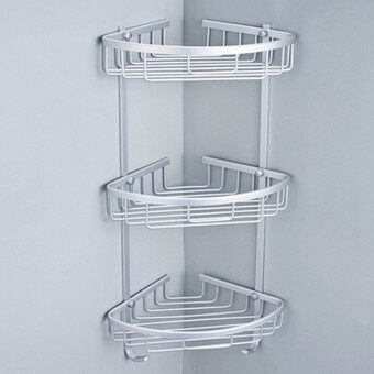 2pcs aluminium hanging bathroom shower accessories corner storage shelf rack holder 3 tier