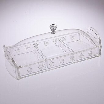 3 Compartment Acrylic Tray with Cover (Clear Design)